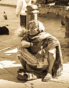Fajčiarka na Durbar Square